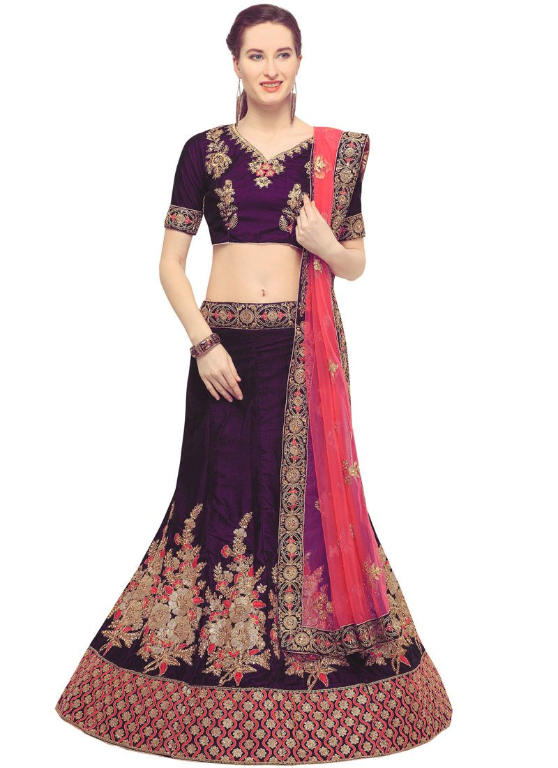 Purple Embroidered Sangeet Designer Lehenga Choli
