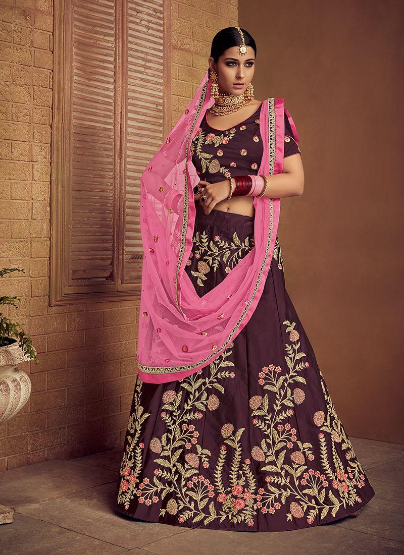 Purple Embroidered Sangeet Trendy Lehenga Choli