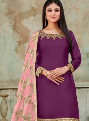 Purple Embroidered Satin Designer Patiala Suit