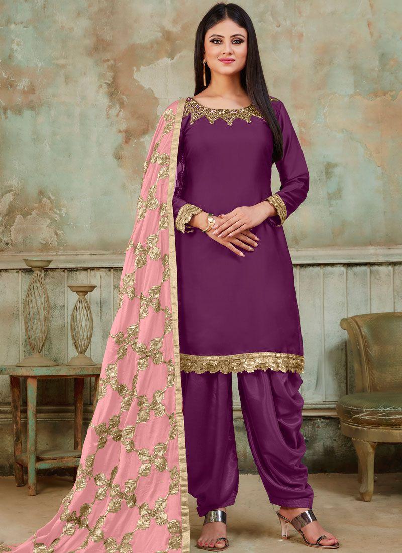 Purple Embroidered Satin Designer Patiala Suit