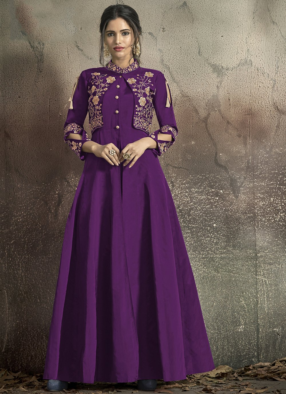 Purple Embroidered Tafeta Silk Designer Gown