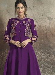 Purple Embroidered Tafeta Silk Designer Gown