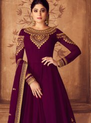 Purple Embroidered Wedding Anarkali Salwar Kameez