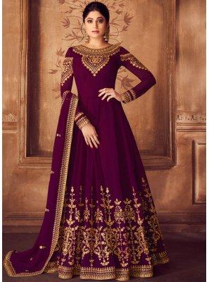 Purple Embroidered Wedding Anarkali Salwar Kameez