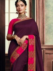 Purple Embroidered Wedding Classic Saree