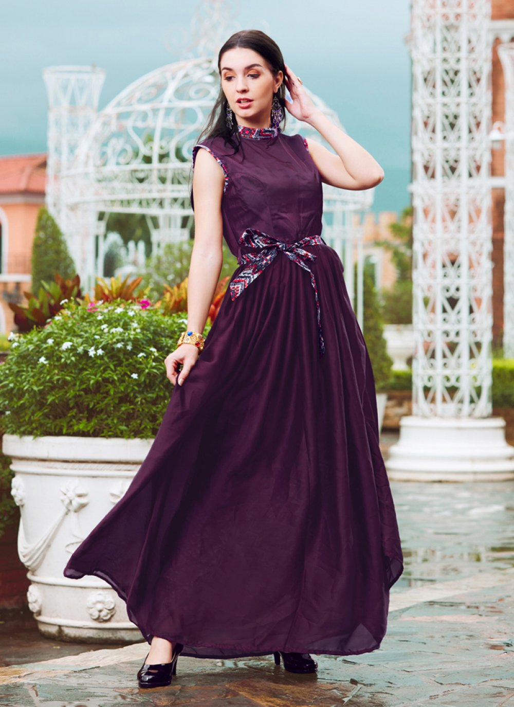 Purple Fancy Crepe Silk Readymade Gown