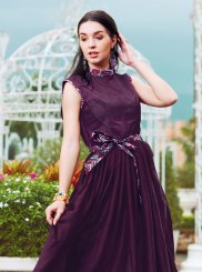 Purple Fancy Crepe Silk Readymade Gown