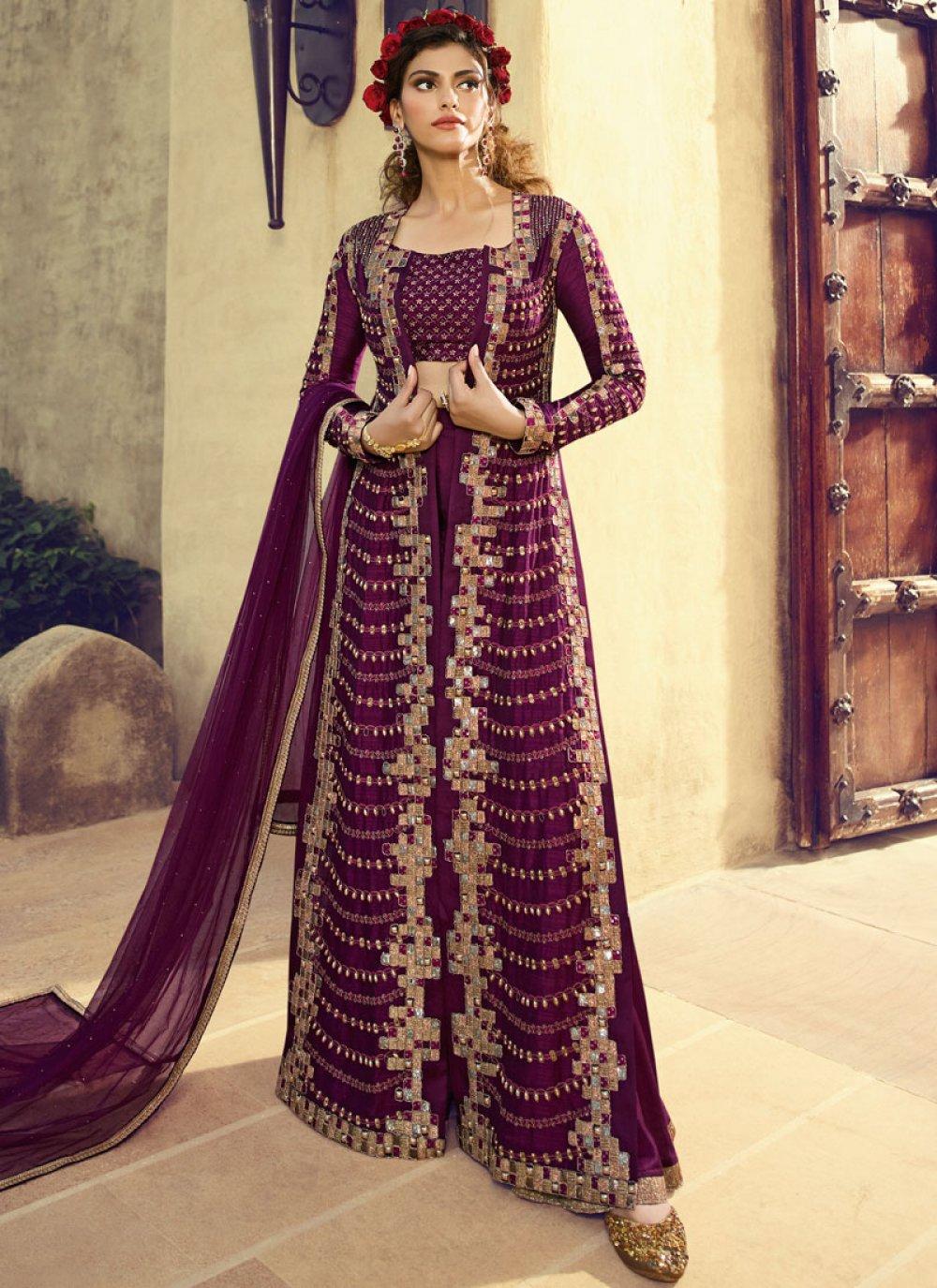 Purple Fancy Fabric Wedding Floor Length Anarkali Suit