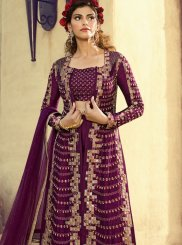 Purple Fancy Fabric Wedding Floor Length Anarkali Suit