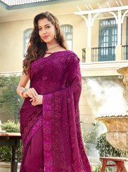 Purple Faux Chiffon Trendy Saree