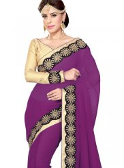 Purple Faux Georgette Casual Saree