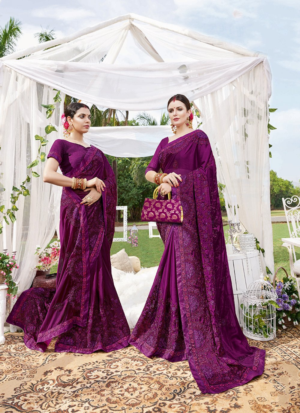 Purple Faux Georgette Ceremonial Traditional Saree
