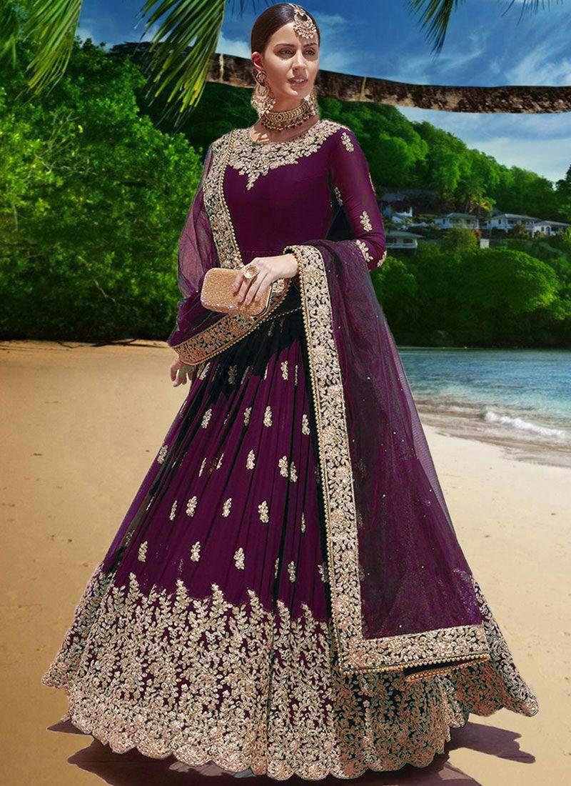Purple Faux Georgette Embroidered Anarkali Suit