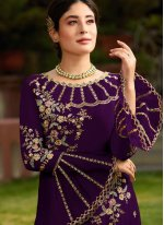 Purple Faux Georgette Embroidered Pant Style Suit
