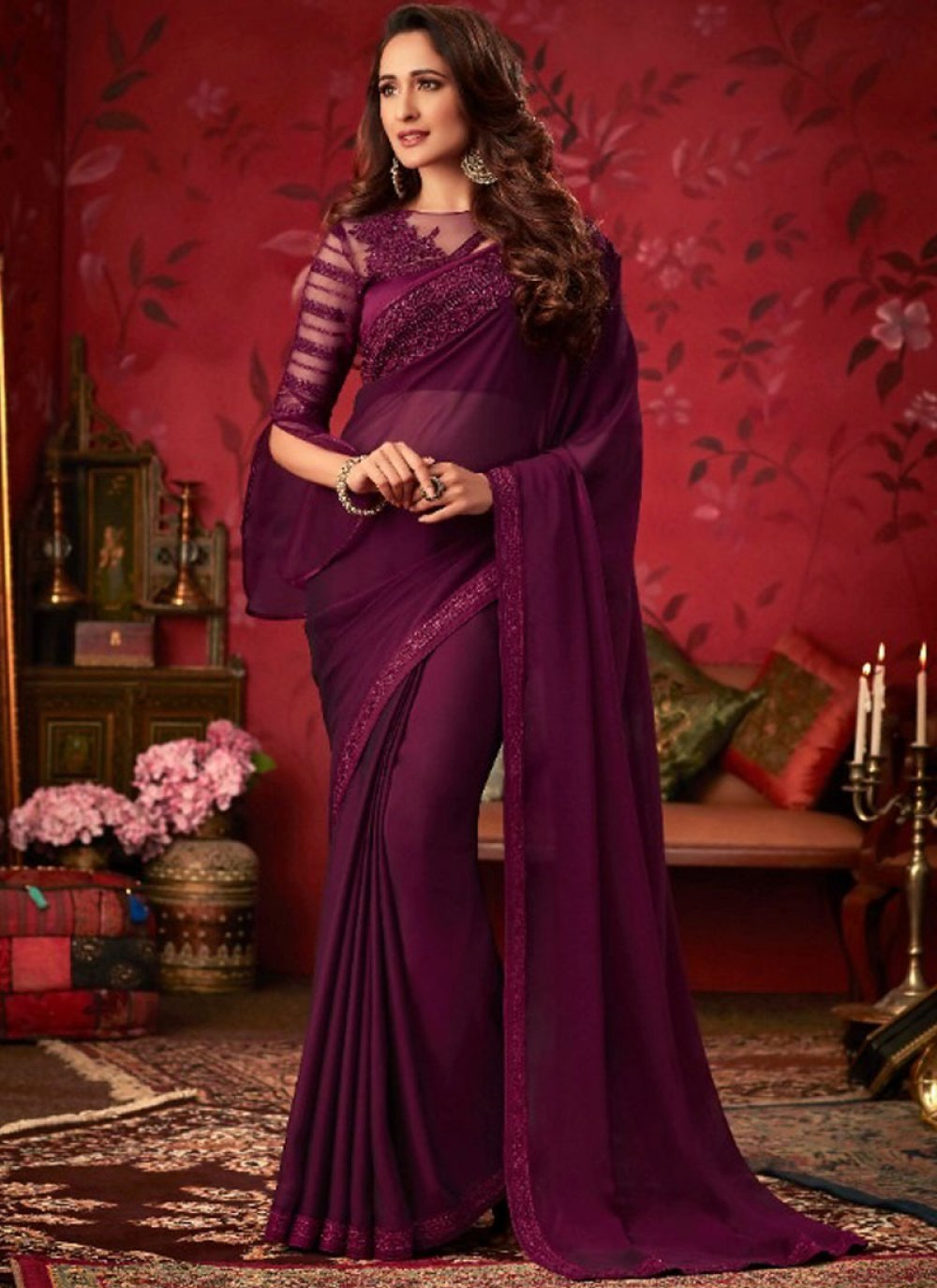 Purple Faux Georgette Embroidered Trendy Saree