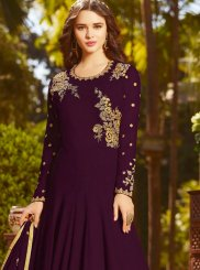 Purple Faux Georgette Floor Length Anarkali Suit