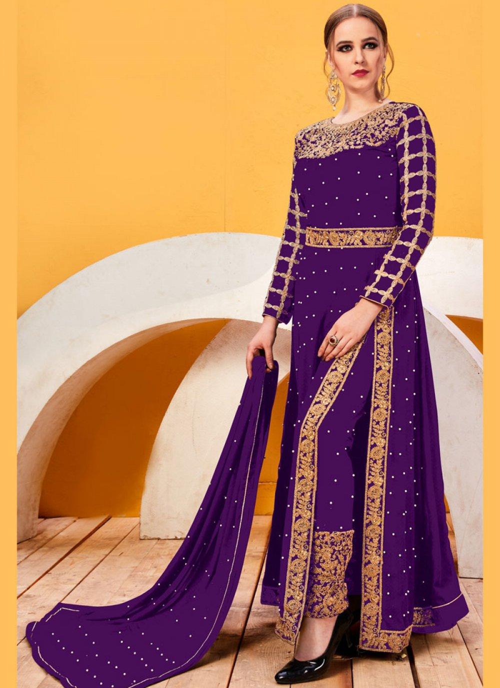 Purple Faux Georgette Lace Pant Style Suit