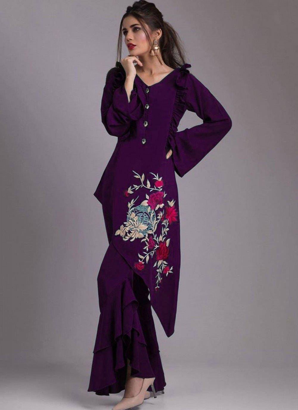 Purple Faux Georgette Party Wear Kurti