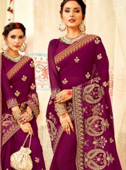 Purple Faux Georgette Wedding Classic Designer Saree
