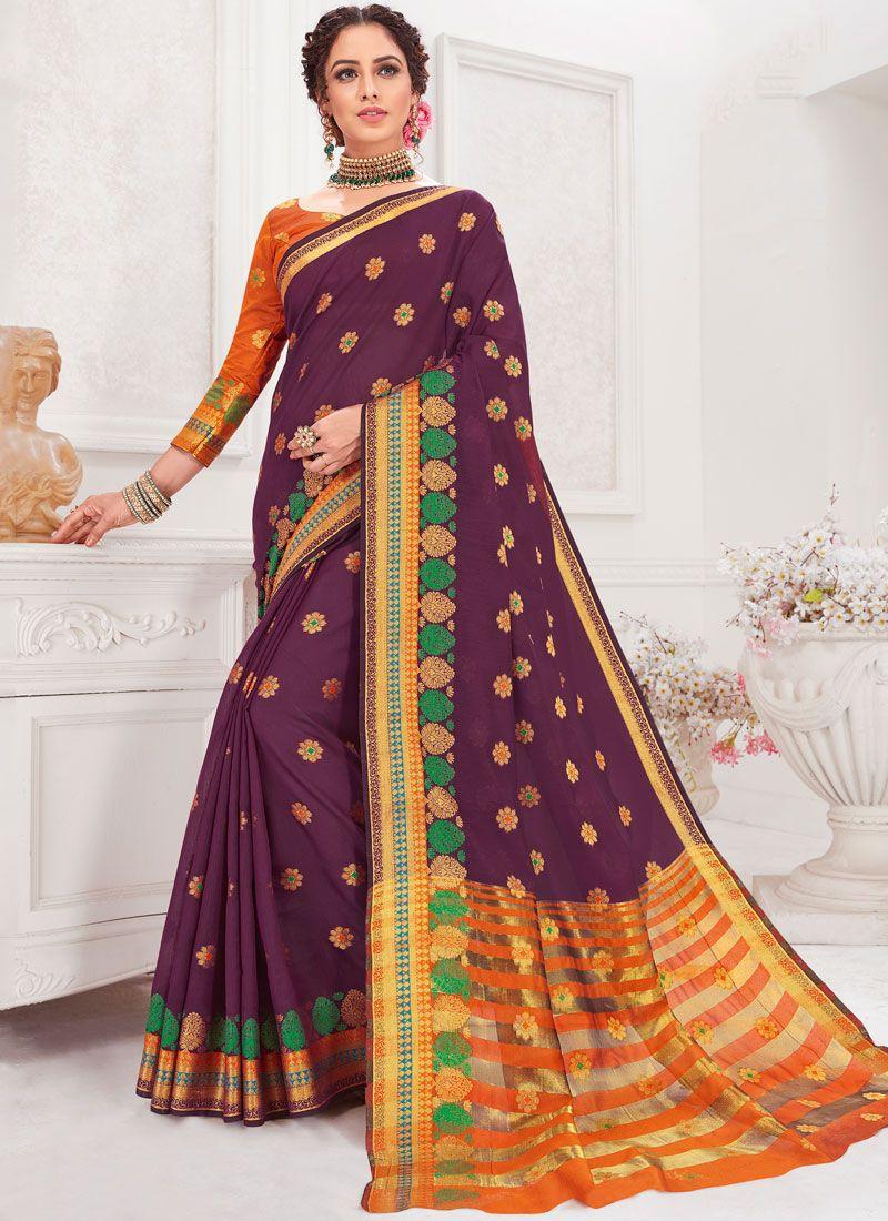 Purple Festival Traditional Designer Saree