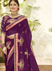 Purple Georgette Classic Saree