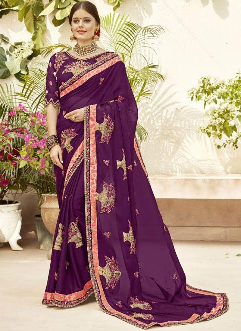 Purple Georgette Classic Saree