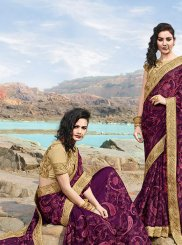 Purple Georgette Designer Saree
