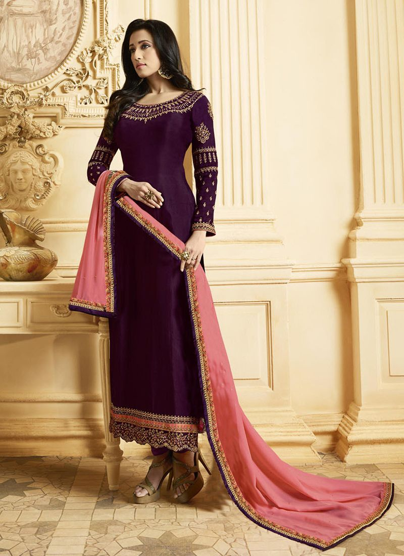 Purple Georgette Satin Embroidered Designer Pakistani Suit