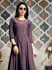 Purple Khadi Party Party Wear Kurti
