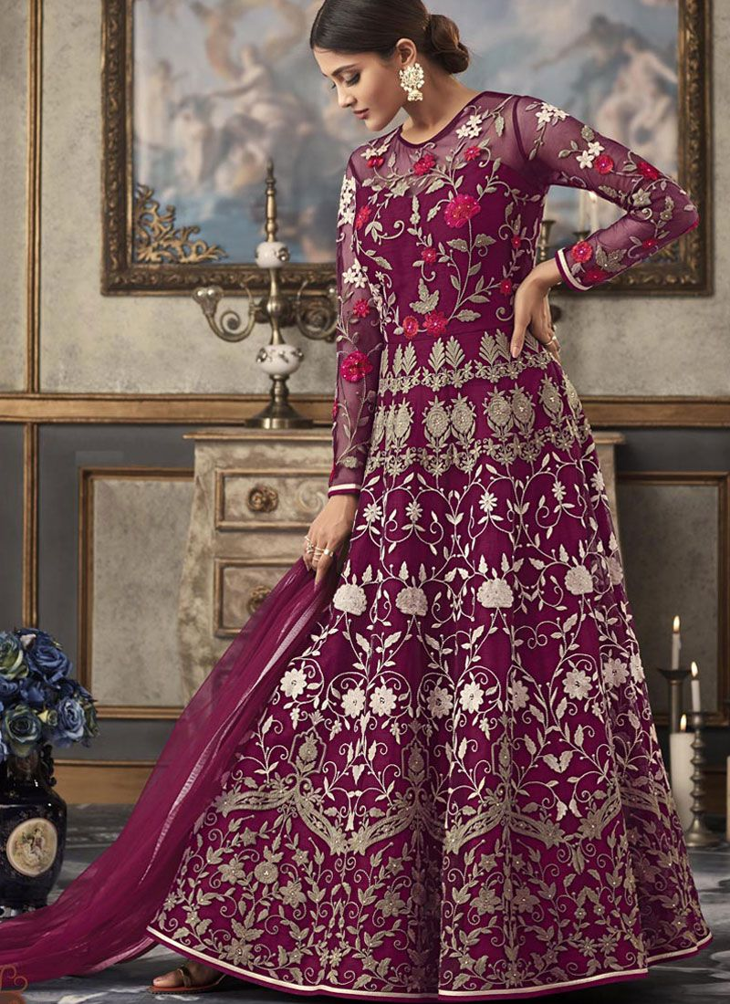 Purple Lace Festival Floor Length Anarkali Suit