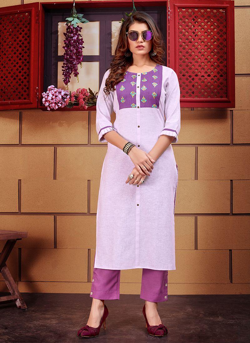 Purple Linen Designer Kurti