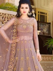 Purple Long Choli Lehenga