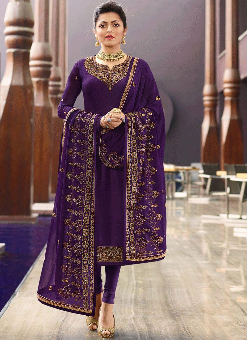 Purple Mehndi Churidar Designer Suit