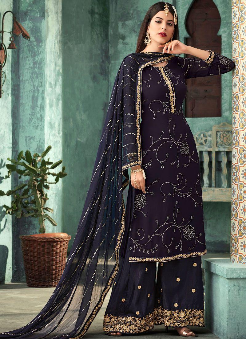 Purple Mehndi Designer Palazzo Suit