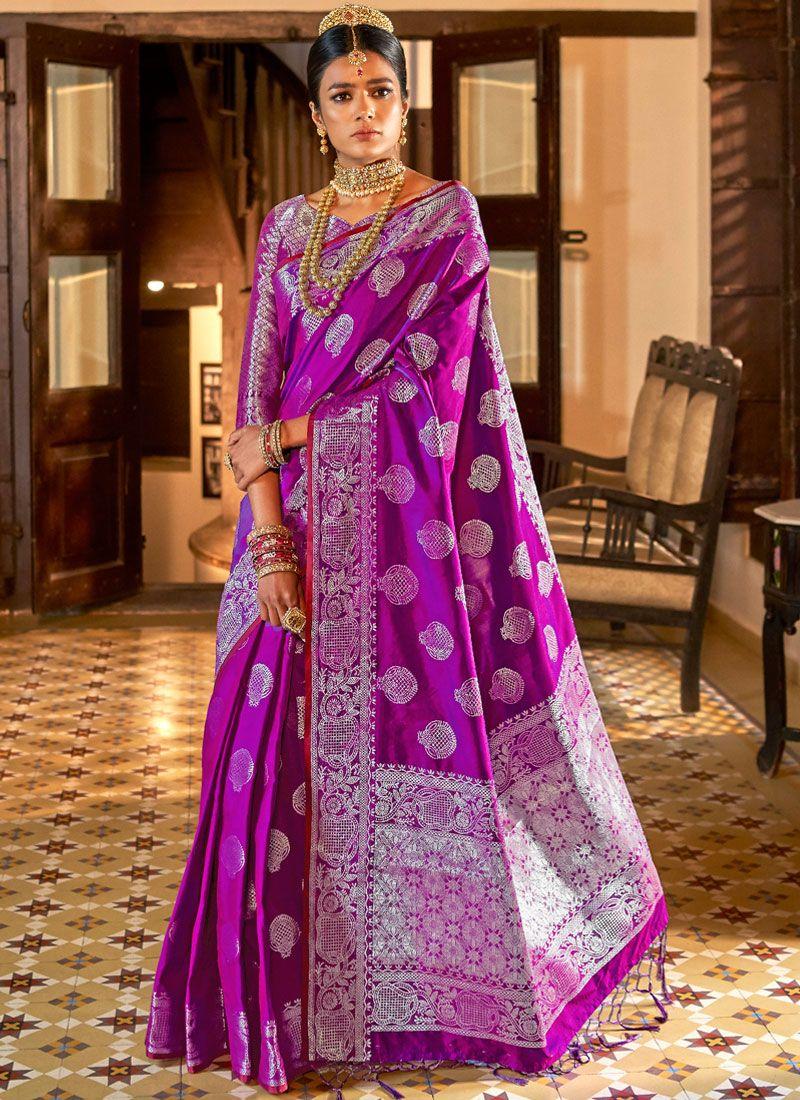 Purple Party Art Silk Traditional Designer Saree