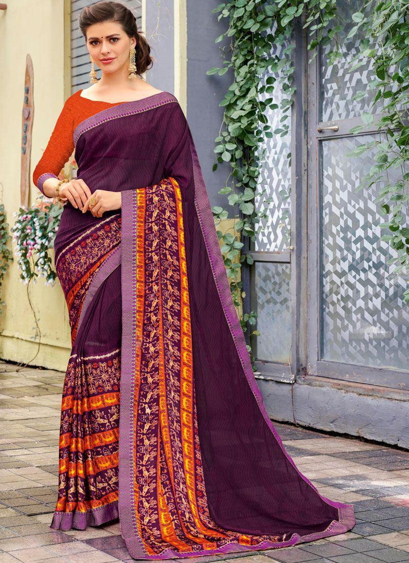 Purple Party Printed Saree