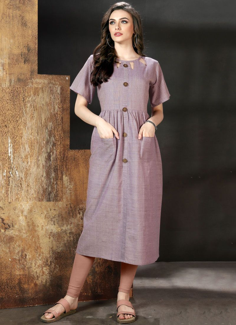 Purple Plain Party Wear Kurti