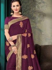 Purple Poly Silk Classic Saree