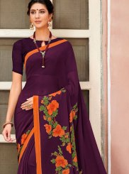 Purple Printed Casual Saree