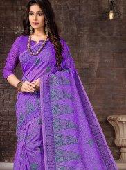 Purple Printed Cotton Casual Saree