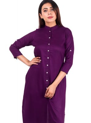 Purple Rayon Plain Designer Kurti