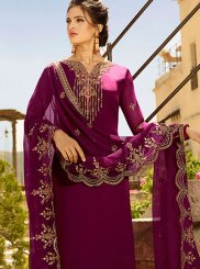 Purple Resham Ceremonial Churidar Designer Suit