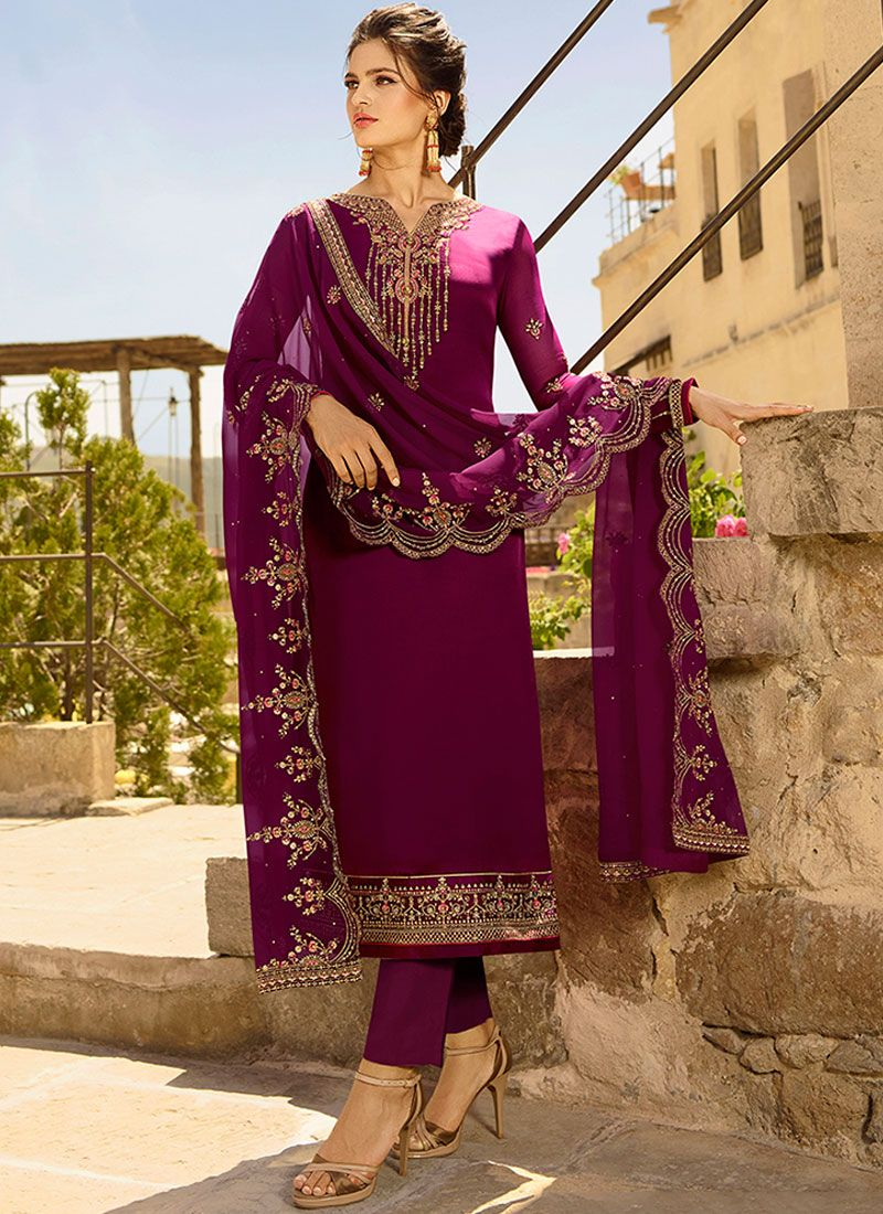 Purple Resham Ceremonial Churidar Designer Suit
