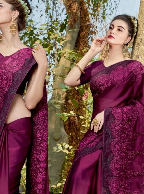 Purple Resham Faux Georgette Classic Designer Saree
