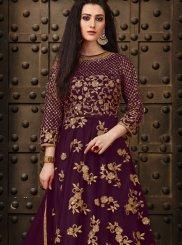 Purple Sangeet Net Anarkali Salwar Kameez