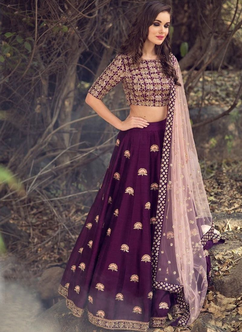 Purple Satin Bridal Lehenga Choli