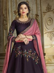 Purple Silk Anarkali Salwar Suit