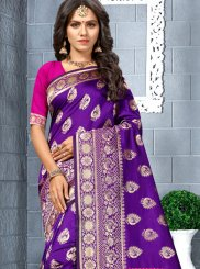 Purple Silk Weaving Silk Saree