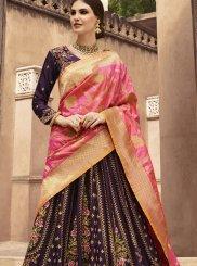 Purple Stone Work Fancy Fabric Designer Lehenga Choli