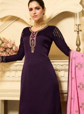 Purple Stone Work Mehndi Designer Palazzo Salwar Suit